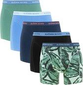 Björn Borg - boxershorts Heren - 5-pack - blauw/groen/print/uni - Essential-  Maat XL