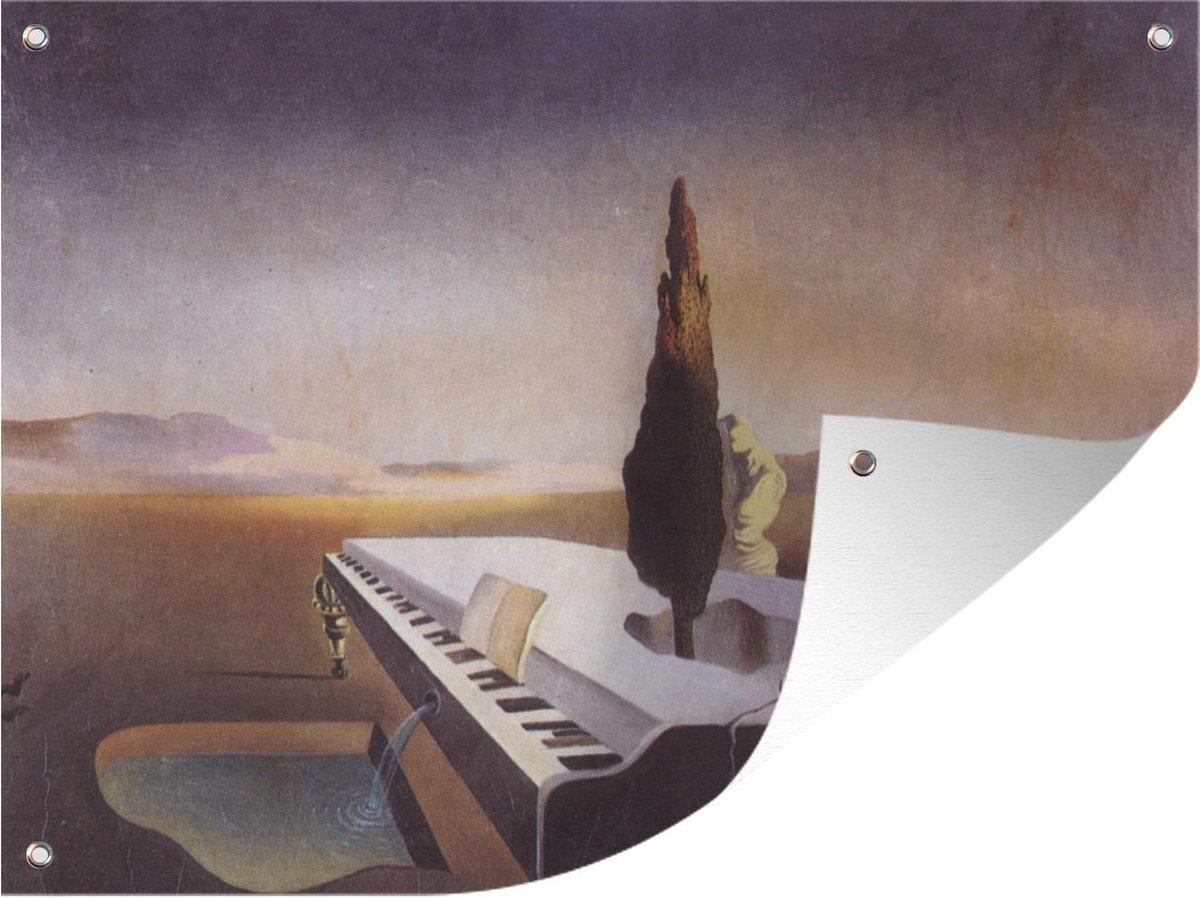 Tuinposter - Fontein stromend uit een piano - schilderij van Salvador Dalí - 120x90 cm