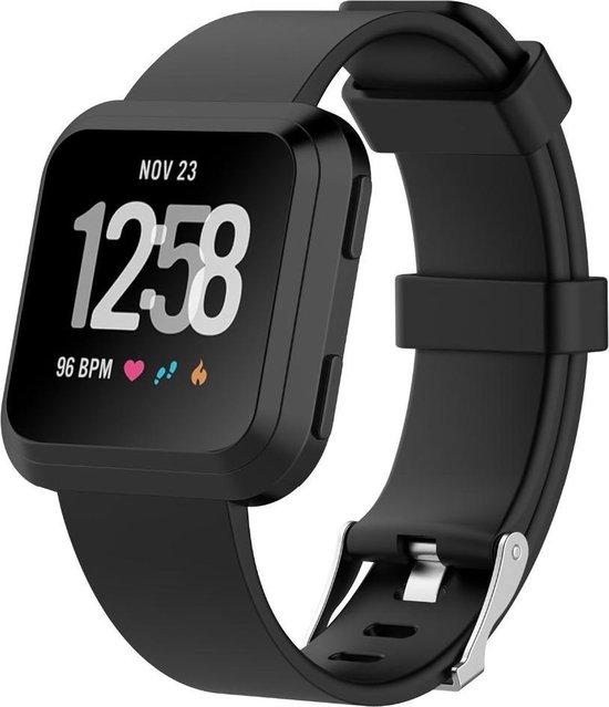 Fitbit Versa (Lite) & Fitbit versa 2 bandje van By Qubix - Zwart - sportbandje met gesp sluiting - rubber / siliconen - Verstelbaar Fitbit versa bandjes - Inclusief garantie!