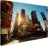 Zonsopgang in Manhattan Canvas 60x40 cm - Foto print op Canvas schilderij (Wanddecoratie woonkamer / slaapkamer) / Steden Canvas Schilderijen