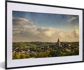 Foto in lijst - Uitzicht over de Duitse stad Wuppertal fotolijst zwart met witte passe-partout 60x40 cm - Poster in lijst (Wanddecoratie woonkamer / slaapkamer)