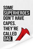 Cadeau voor vader met tekst - Superheroes Poster 120x180 cm XXL / Groot formaat!