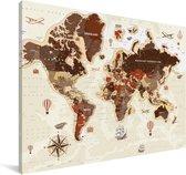 Vintage wereldkaart op een lichte achtergrond Canvas 140x90 cm - Foto print op Canvas schilderij (Wanddecoratie woonkamer / slaapkamer)