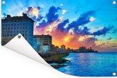 Kleurrijke zonsondergang boven Cuba in Noord-Amerika Tuinposter 90x60 cm - Tuindoek / Buitencanvas / Schilderijen voor buiten (tuin decoratie)