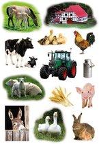 39x Boerderij dieren stickers - kinderstickers - stickervellen - knutselspullen