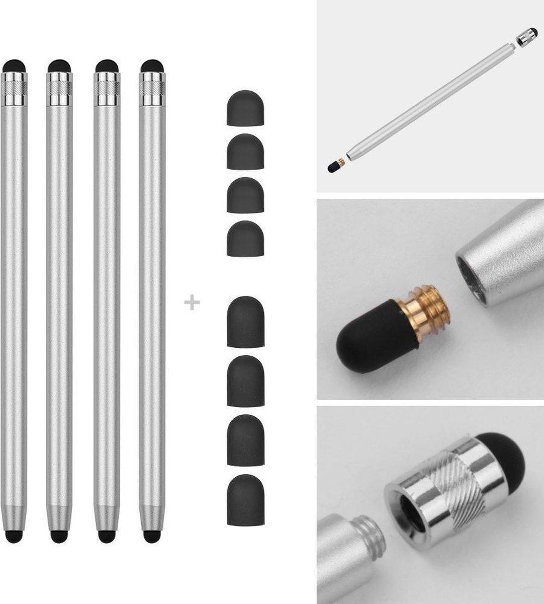 4 stuks - Stylus touchscreen pennetjes - Zilver