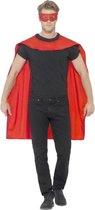 Rode Cape En Oogmasker Superheld | One Size | Carnaval kostuum | Verkleedkleding