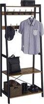 All-in-one Kapstok met 9 Haken en Schoenenrek - Staand Garderoberek - Metalen Frame / Hout - Vintage Bruin en Zwart