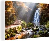 Waterval in de herfst canvas 2cm 120x80 cm - Foto print op Canvas schilderij (Wanddecoratie woonkamer / slaapkamer)