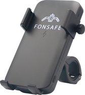 FONSAFE® Telefoonhouder Fiets met Powerbank 5000 mAh, Draadloos opladen, Felle LED Lamp - Telefoonhouder met Wireless Charger, Schokbestendig, QI Technologie - GSM Houder Fiets - Smartphone Houder Fiets - Iphone - Samsung - Huawei - Zilver