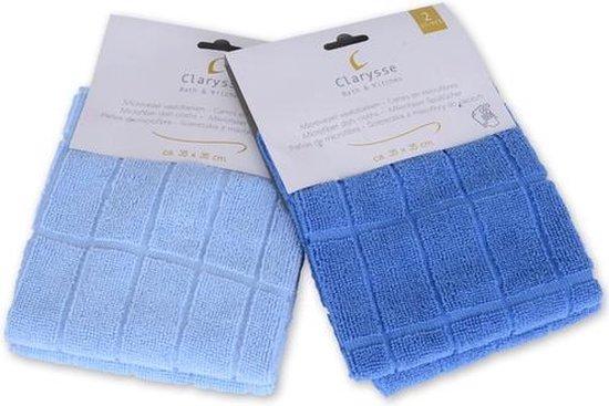 Clarysse Microvezeldoeken Blauw 35x35cm 2 stuks