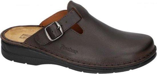Fischer -Heren -  bruin donker - pantoffel/slippers - maat 46