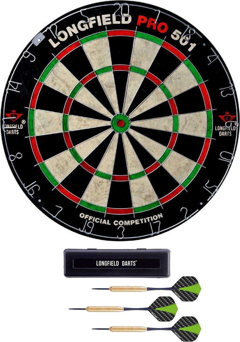 Dartbord Longfield professional 45.5 cm met 3x goede kwaliteit dartpijltjes - Darten voor thuis - Voordeelset