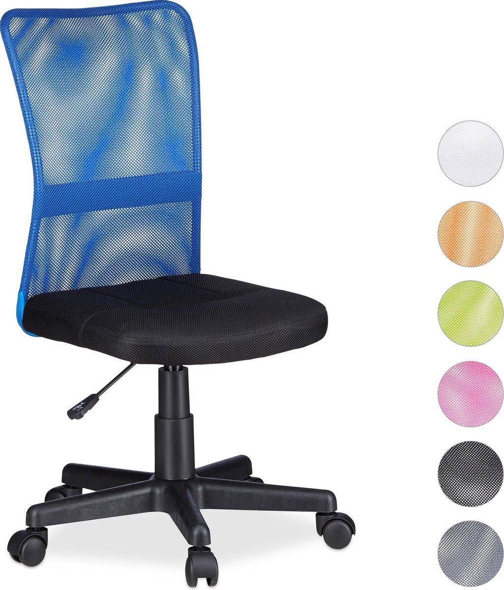 Relaxdays Bureaustoel voor kinderen - Ergonomisch - 90kg - Blauw