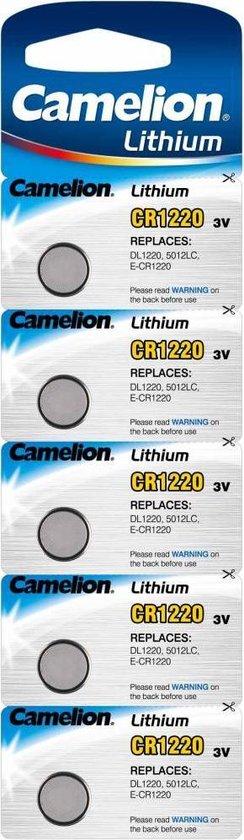 Camelion Lithium knoopcel CR1220, 3 Volt - 5 stuks - Camelion