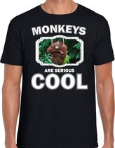 Dieren apen t-shirt zwart heren - monkeys are serious cool shirt - cadeau t-shirt orangoetan/ apen liefhebber 2XL