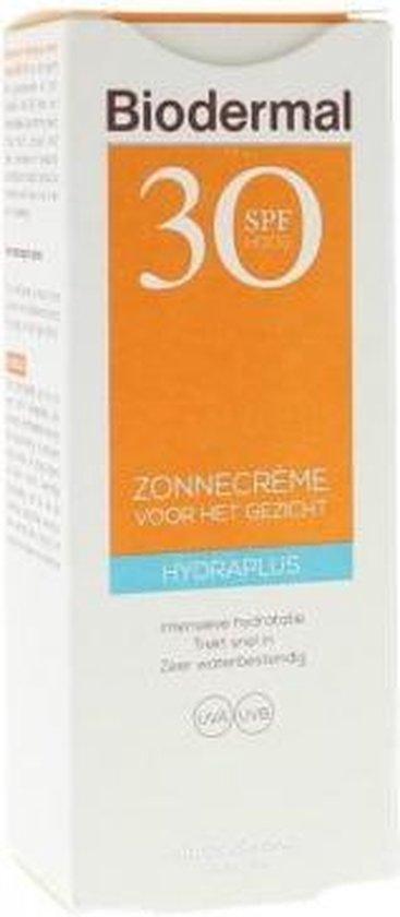 Biodermal Zonnebrand - Zonnebrandcreme gezicht - Hydraplus Face SPF30 50ml