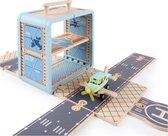 Speelgoed vliegveld - draagbaar speelgoed vliegveld - duurzaam speelgoed - speelgoed - speelgoedkistje - vliegtuig