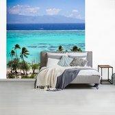 Fotobehang vinyl - Palmbomen op de kust van Mo'orea met helder blauw water op de achtergrond breedte 220 cm x hoogte 220 cm - Foto print op behang (in 7 formaten beschikbaar)