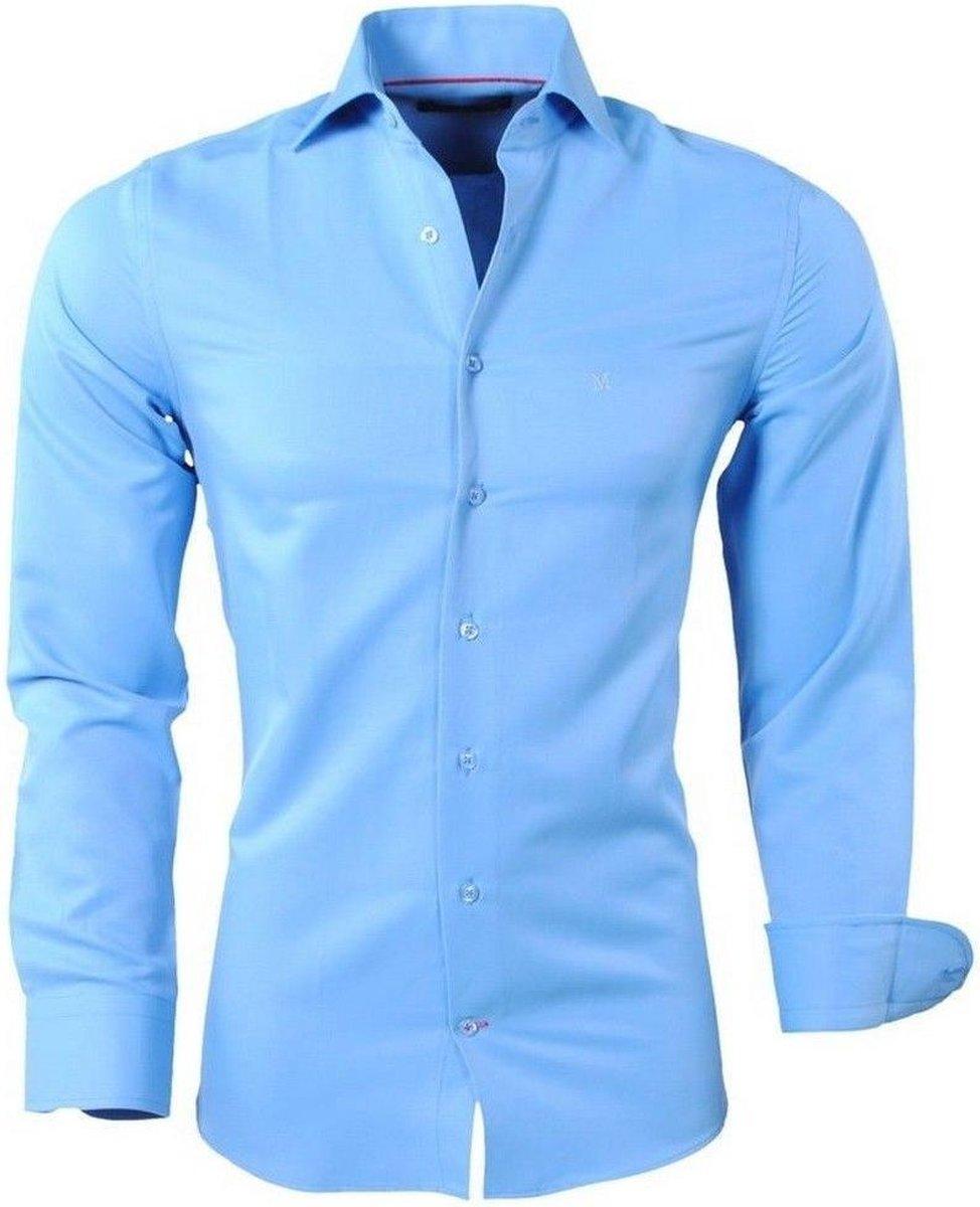 Montazinni - Heren Overhemd - Slim Fit - Licht Blauw