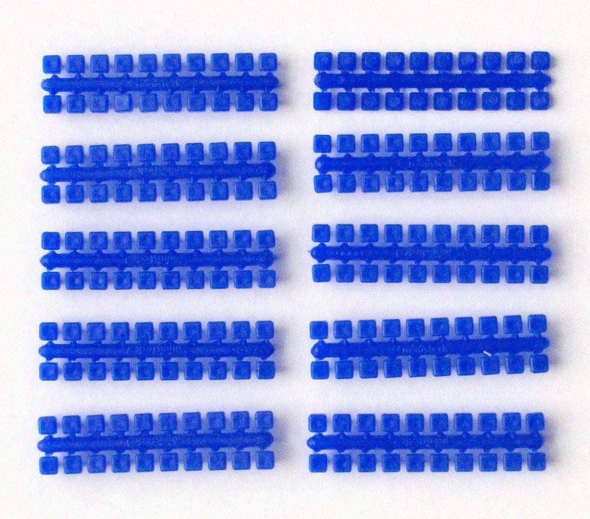 Ministeck: 10x 1 punt kleuren strips (donkerblauw)