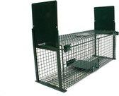 Vangkooi voor dieren van 50x18x18cm - rattenval - dubbele ingang - groen - staal