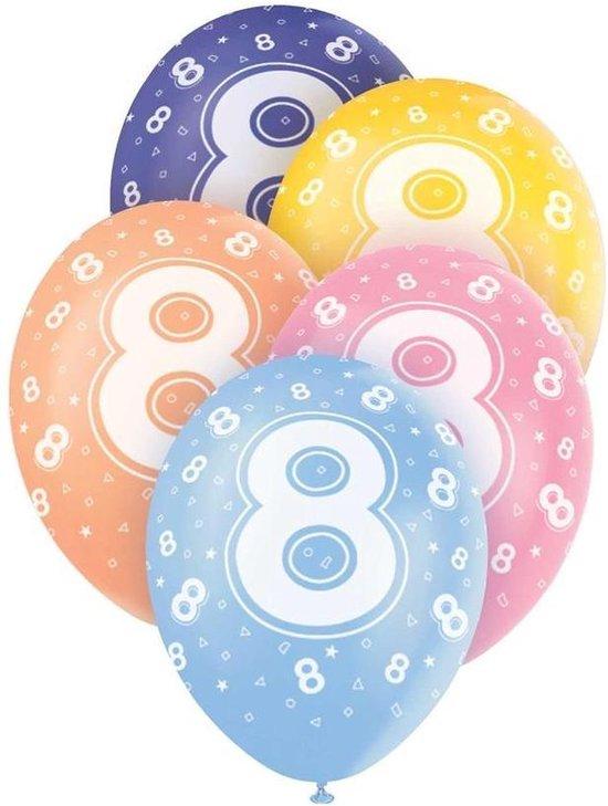 Haza Original Ballonnen 8 Jaar Multicolor 30 Cm 5 Stuks