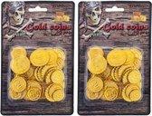Piraat munten goud 100 stuks - Piraten verkleed accessoire - Gouden speelgoed munten