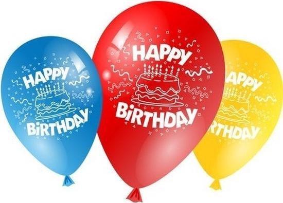 Gekleurde verjaardags ballonnen 10x stuks - Happy Birthday - Feestartikelen versiering