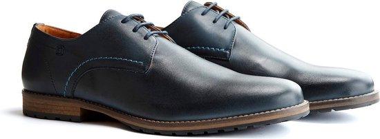 Travelin Manchester Leather - Leren veterschoenen - Donkerblauw - Maat 48