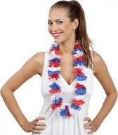 50x Hollandse kleuren hawaii bloemen krans slinger - rood-wit-blauw hawaiislingers