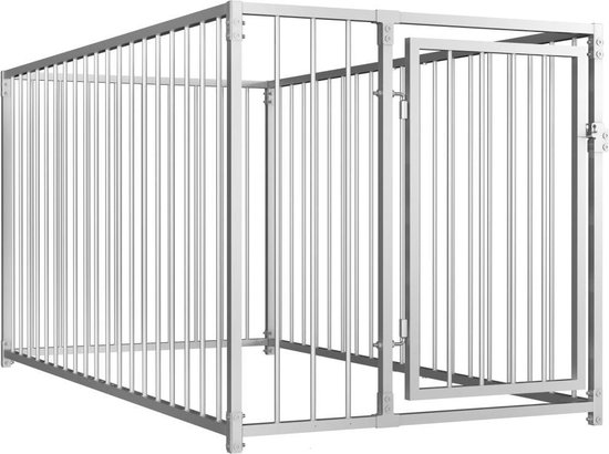 Hondenkennel - Staal - Zilver - 100x200x100 cm (B x D x H)
