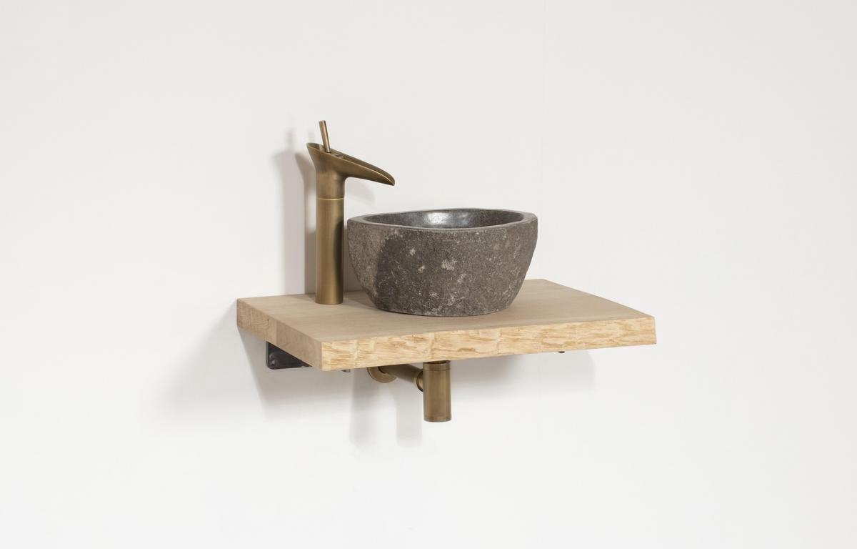 Wastafel Evia Messing | Complete Set | 60x40x4 | tp