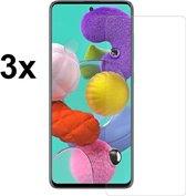 4mobilez set 3x Samsung A71 glass screenprotectors - 2.5D