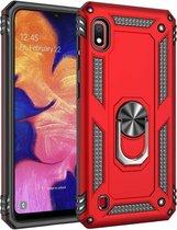 Samsung Galaxy A10 Hoesje - Anti-Shock Hybrid Ring Armor rood