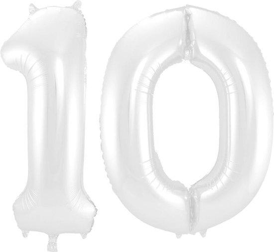 Cijfer 10 Wit Helium 86 cm