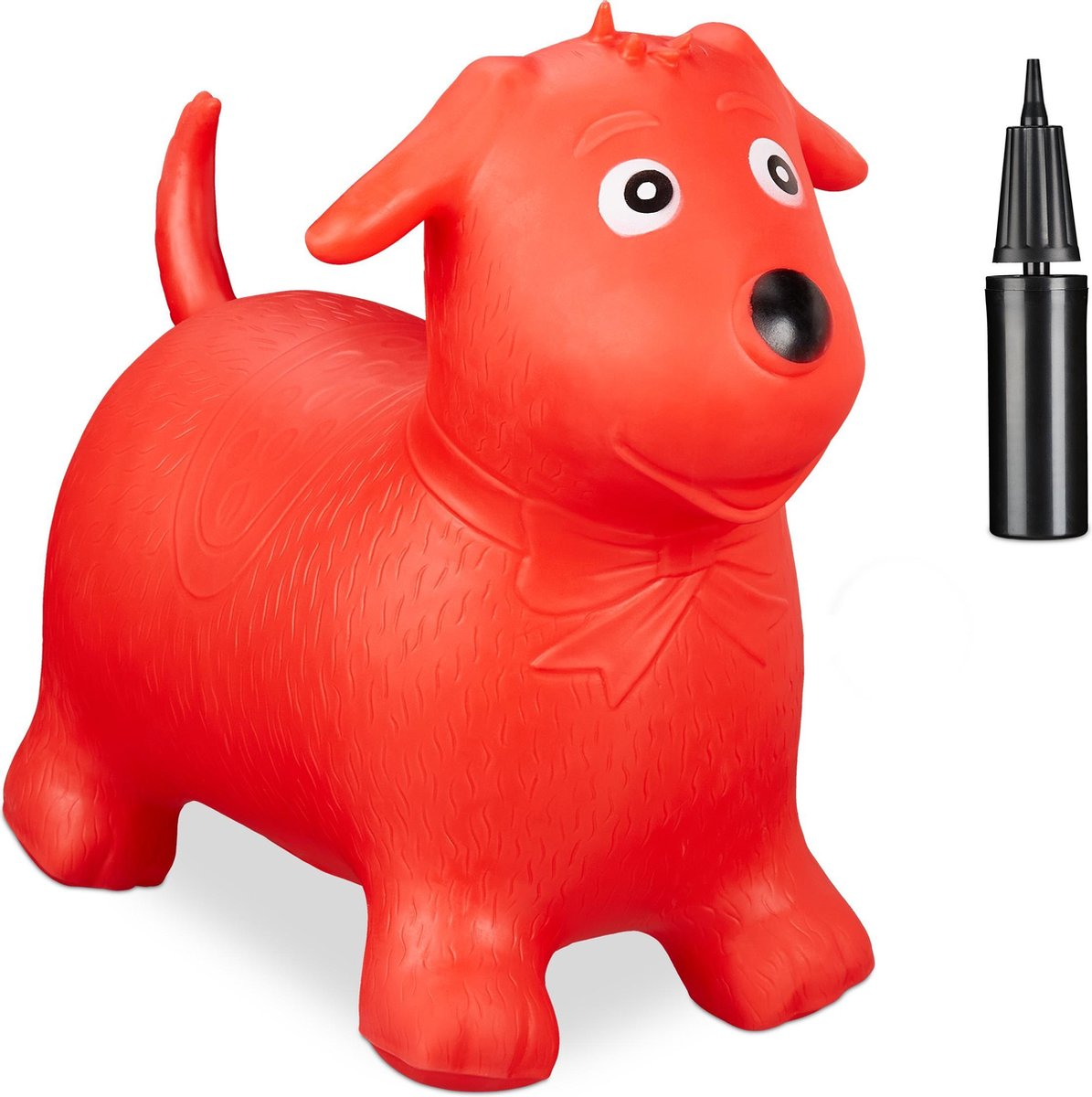 relaxdays Skippy dier hond - skippyhond - springdier - skippybal - tot 80 kg - luchtpompje rood