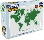 Puzzel 500 stukjes Eigen Wereldkaarten - Wereldkaart modern groen  - PuzzleWow heeft +100000 puzzels
