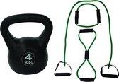 Tunturi - Fitness Set - Tubing Set Groen - Kettlebell 4 kg