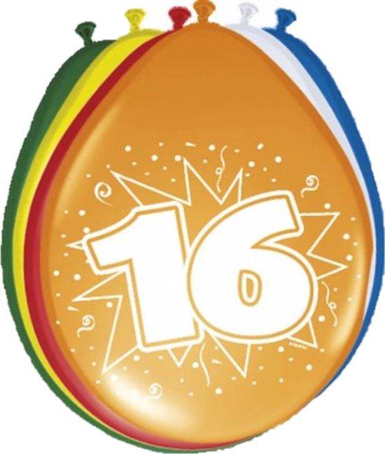 Ballonnen ster 30 cm: 16 jaar - 8 stuks (08216)