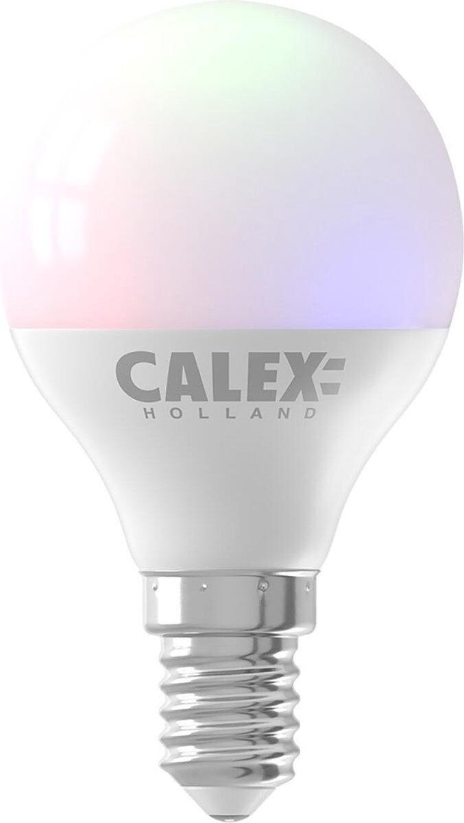 CALEX - LED Lamp - Smart Kogellamp - E14 Fitting - Dimbaar - 5W - Aanpasbare Kleur CCT - RGB - Mat Wit - BSE