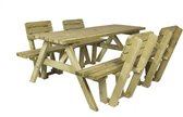 MaximaVida houten picknicktafel Vilnius 180 cm met vier rugleuningen