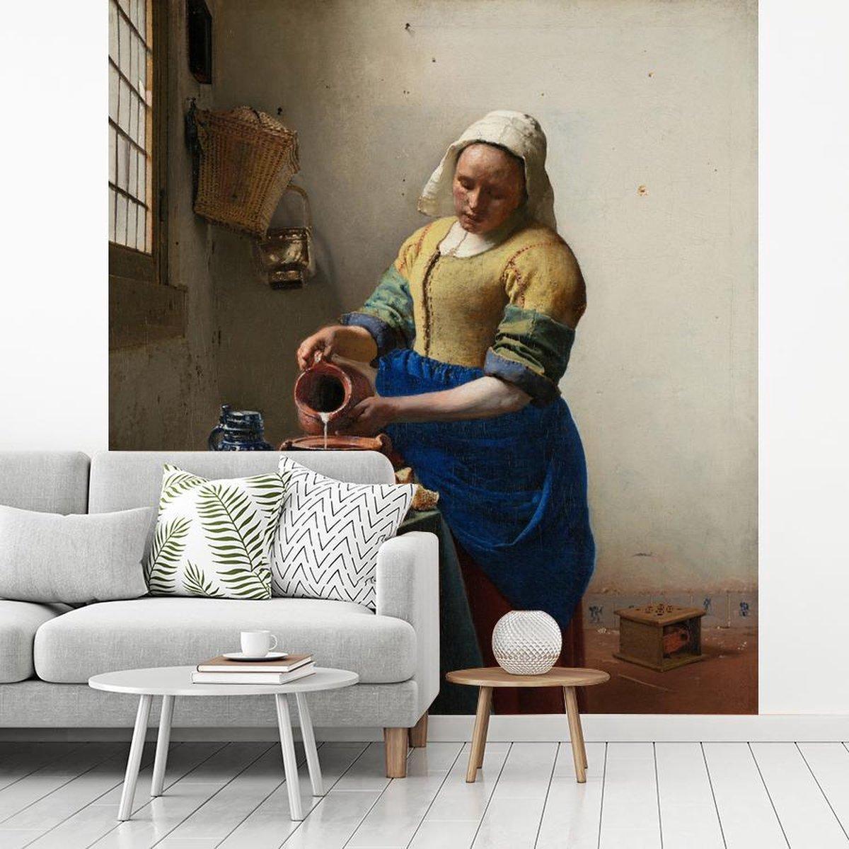 Fotobehang Vermeer -  melkmeisje - Schilrij van Johannes Vermeer fotobehang vinyl breedte 200 cm x h