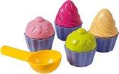 Speelgoed cupcake zandvormen 9 delig - Zandbak en strand speelgoed zandspeelsets