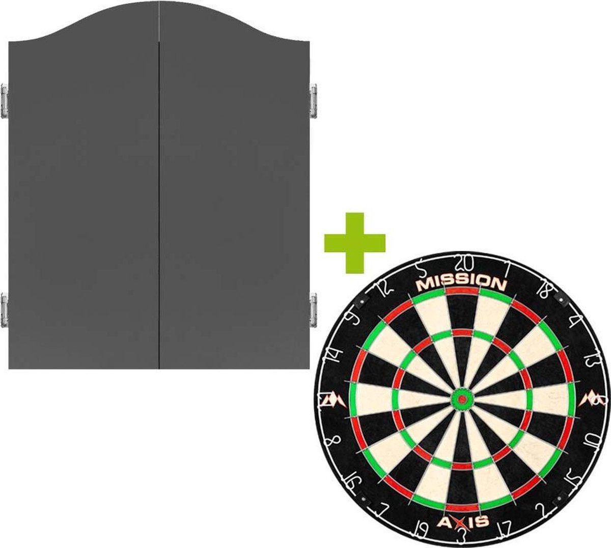 Mission Deluxe Plain Grey Dartkabinet + Mission Axis +