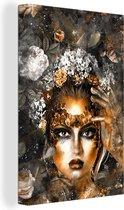 Canvas Schilderijen - Vrouwen - Bloemen - Goud - 60x90 cm - Wanddecoratie