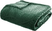 Fleece Plaid Leaves - 220 cm x 240 cm - Groen