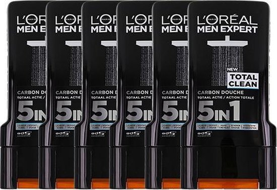 L'Oréal Paris Men Expert Total Clean Shower Gel -  6 x 300 ml - Voordeelverpakking