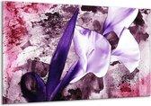 Canvas schilderij Bloem   Paars, Wit, Roze   120x70cm 1Luik