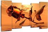 Canvas schilderij Roos | Rood, Goud, Geel | 150x80cm 5Luik